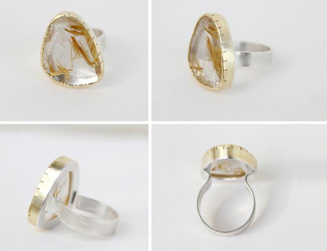 yellow gold 585, silver 925, routile quartz / kollane kuld 585, hõbe 925, rutiilkvarts