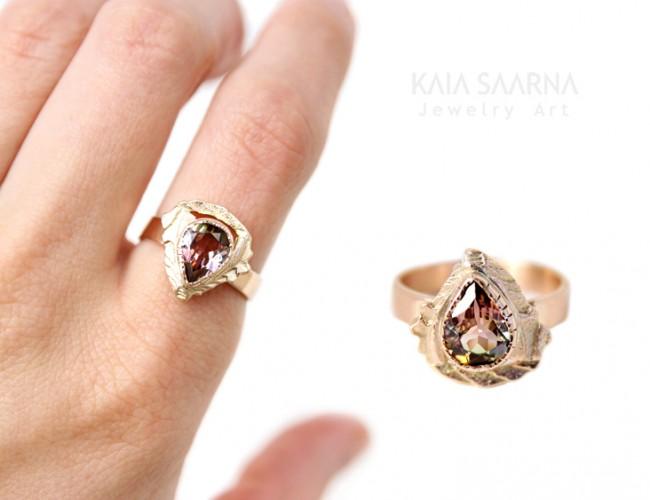 red gold 585, tourmaline / punane kuld 585, turmaliin