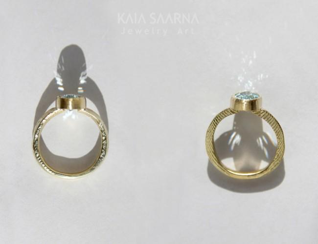 yellow gold 585, aquamarine / kollane kuld 585, akvamariin