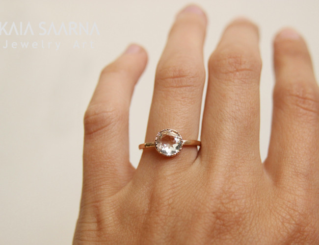 rose gold 585, rock crystal / roosa kuld 585, mäekristall